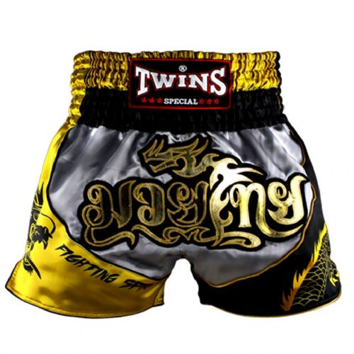 Twins Silver/Gold Dragon Muay Thai Shorts